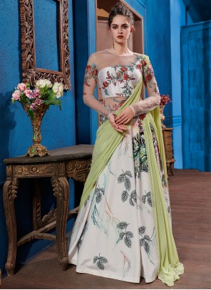 Fancy Fabric Embroidered Multi Colour Designer Gown
