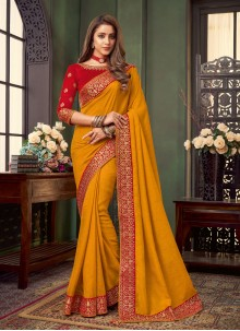 Fancy Fabric Embroidered Mustard Traditional Saree