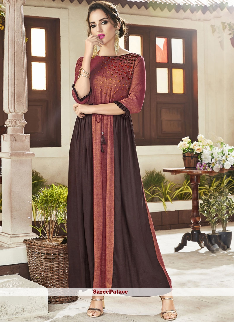 Fancy Fabric Embroidered Party Wear Kurti in Brown