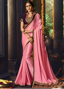 Fancy Fabric Embroidered Pink Classic Designer Saree