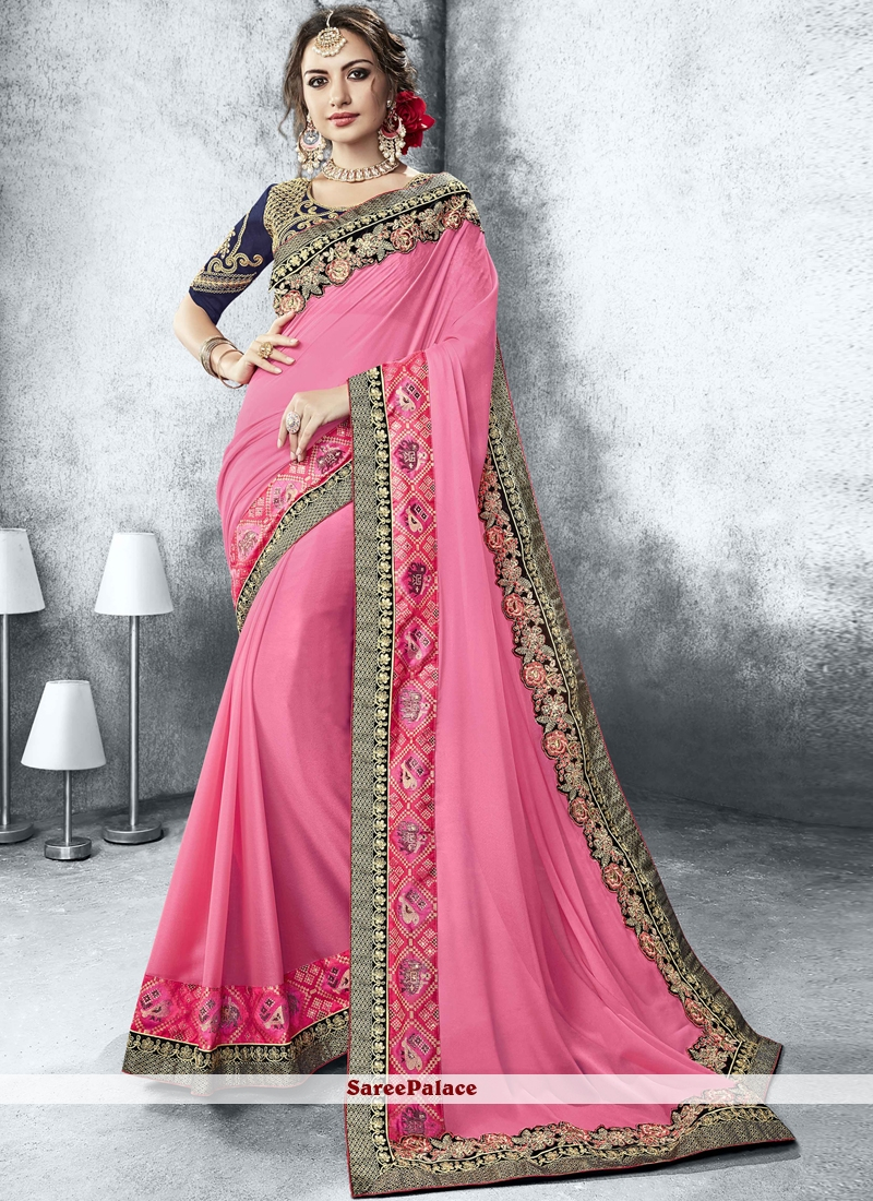 32522a3de9 Buy Fancy Fabric Embroidered Pink Classic Designer Saree Online