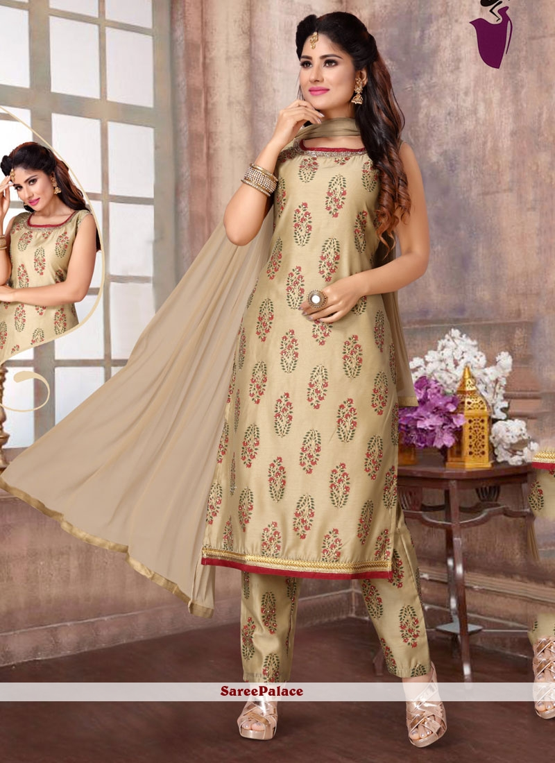 Fancy Fabric Embroidered Readymade Suit in Beige