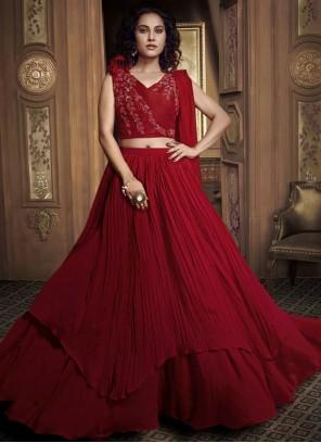 Fancy Fabric Embroidered Red Designer Lehenga Choli