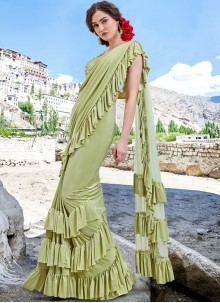 Fancy Fabric Embroidered Sea Green Trendy Saree