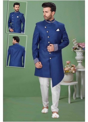 Fancy Fabric Embroidered Sherwani in Blue