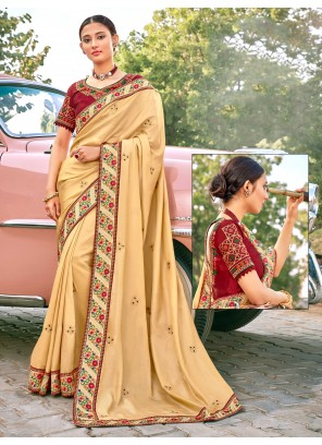 Fancy Fabric Embroidered Traditional Designer Saree