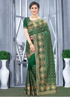Fancy Fabric Embroidered Traditional Designer Saree in Green
