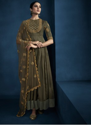 Fancy Fabric Embroidered Trendy Gown