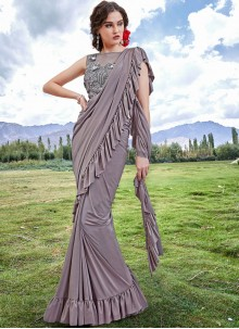 Fancy Fabric Embroidered Trendy Saree