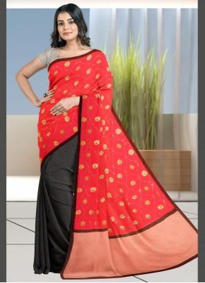 Fancy Fabric Black and Red Designer Half N Half Saree