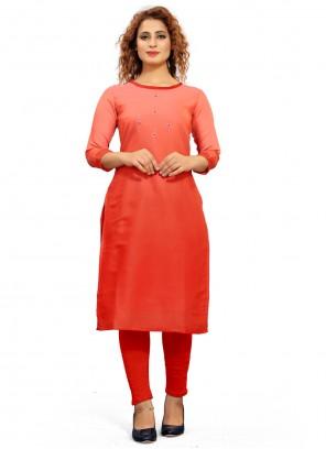 Fancy Fabric Orange Party Wear Kurti
