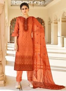 Fancy Fabric Festival Orange Designer Palazzo Suit