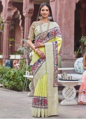 Fancy Fabric Festival Designer Yellow Traditional Saree