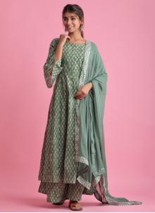 Fancy Fabric Festival Green Readymade Suit