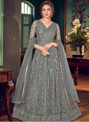 Fancy Fabric Floor Length Anarkali Salwar Suit in Grey