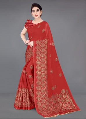 Fancy Fabric Foil Print Saree
