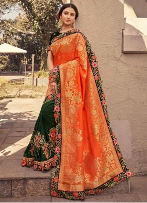 Fancy Fabric Green and Orange Designer Half N Half Saree