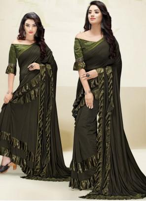 Fancy Fabric Green Border Designer Saree