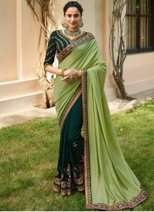 Fancy Fabric Green Designer Half N Half Saree