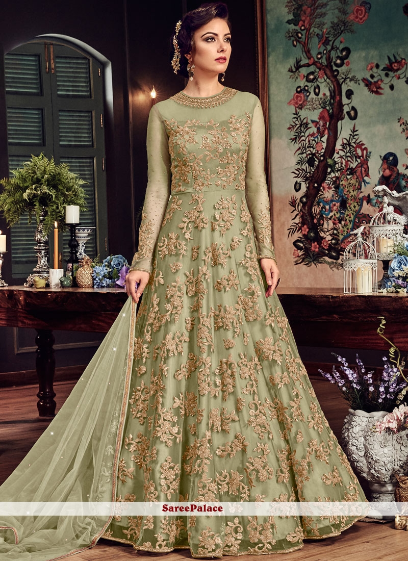Fancy Fabric Green Floor Length Anarkali Suit