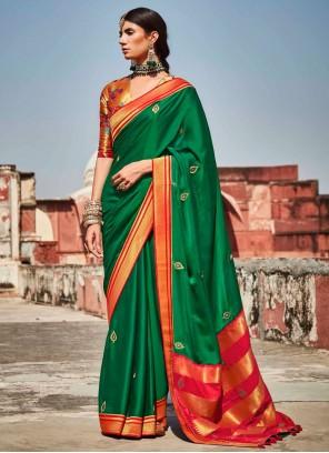Fancy Fabric Green Weaving Designer Saree