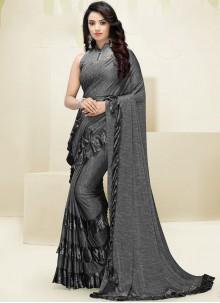Fancy Fabric Grey Border Designer Saree
