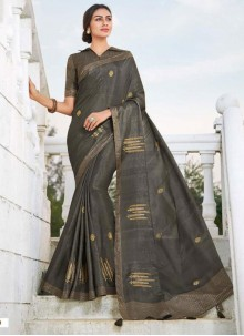 Fancy Fabric Grey Embroidered Traditional Saree