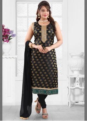 Fancy Fabric Handwork Churidar Black Designer Suit
