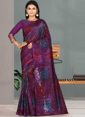 Fancy Fabric Handwork Classic Designer Saree in Wine