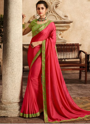 Fancy Fabric Hot Pink Patch Border Traditional Saree