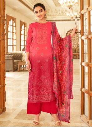 Fancy Fabric Hot Pink Printed Designer Palazzo Salwar Suit