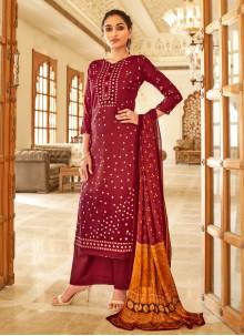 Fancy Fabric Maroon Designer Palazzo Salwar Kameez