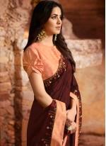 Fancy Fabric Maroon Embroidered Designer Saree