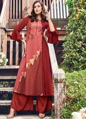 Fancy Fabric Maroon Print Party Wear Kurti