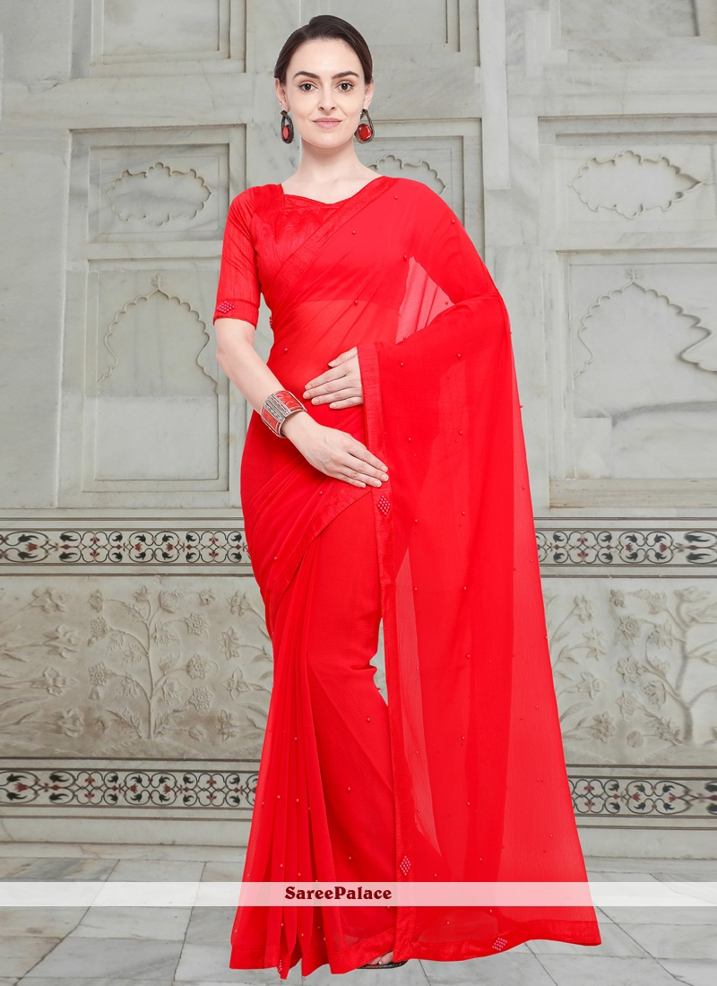 Fancy Fabric Moti Casual Saree in Red