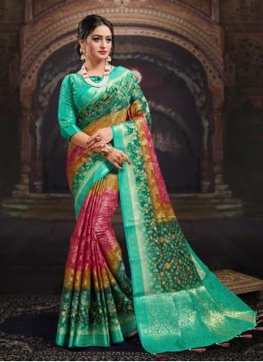 Fancy Fabric Multi Colour Designer Saree