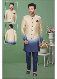 Fancy Fabric Multi Colour Embroidered Sherwani