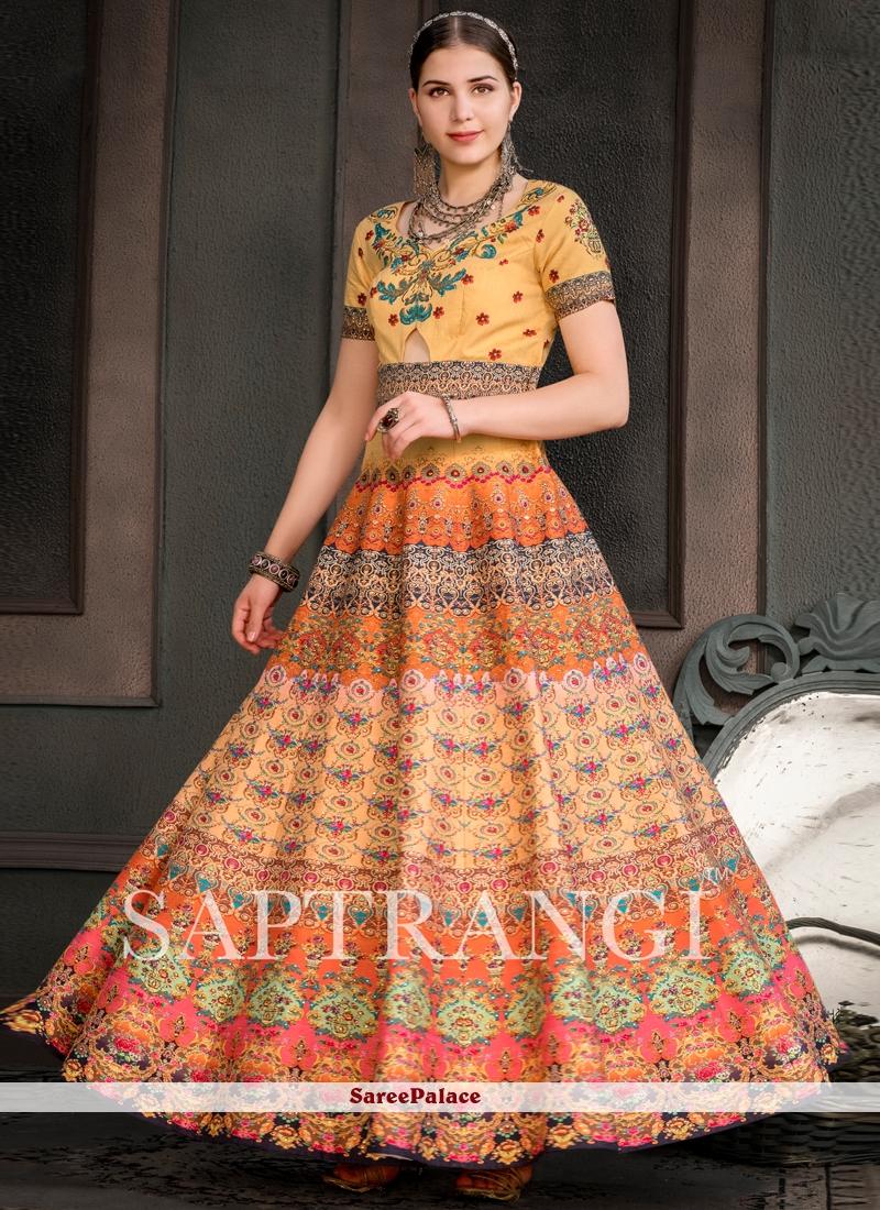 Fancy Fabric Multi Colour Print Designer Gown