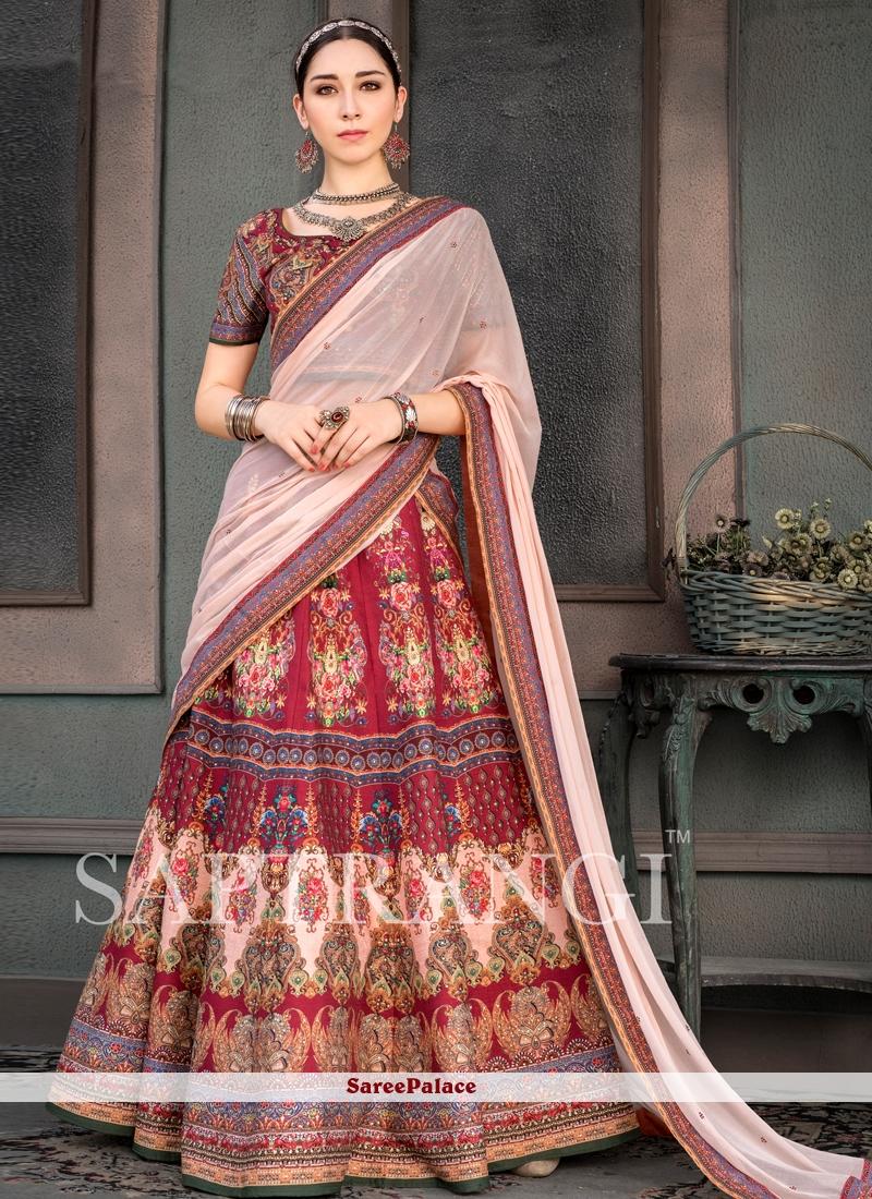 Fancy Fabric Multi Colour Print Lehenga Choli