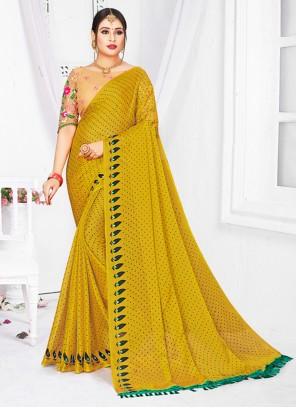 Fancy Fabric Mustard Patch Border Classic Saree