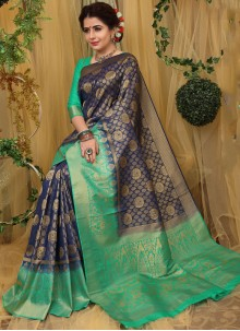 Fancy Fabric Navy Blue Traditional Saree