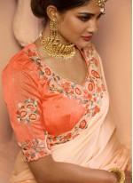 Fancy Fabric Orange Classic Saree