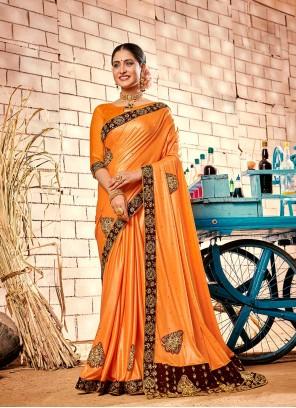 Fancy Fabric Orange Patch Border Contemporary Saree