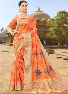 Fancy Fabric Orange Weaving Designer Traditional Saree