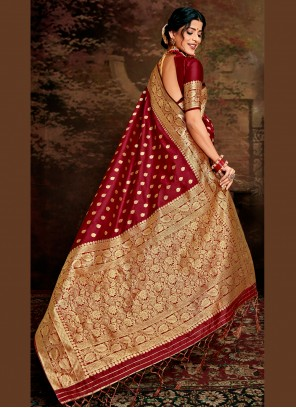 Fancy Fabric Party Maroon Traditional Saree