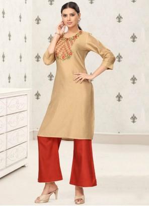 Fancy Fabric Party Wear Kurti in Beige
