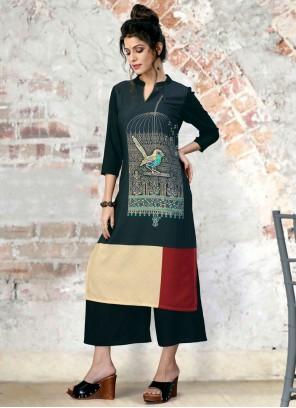 Fancy Fabric Party Wear Kurti in Multi Colour