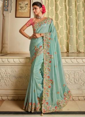 Fancy Fabric Patch Border Blue Traditional Designer Saree