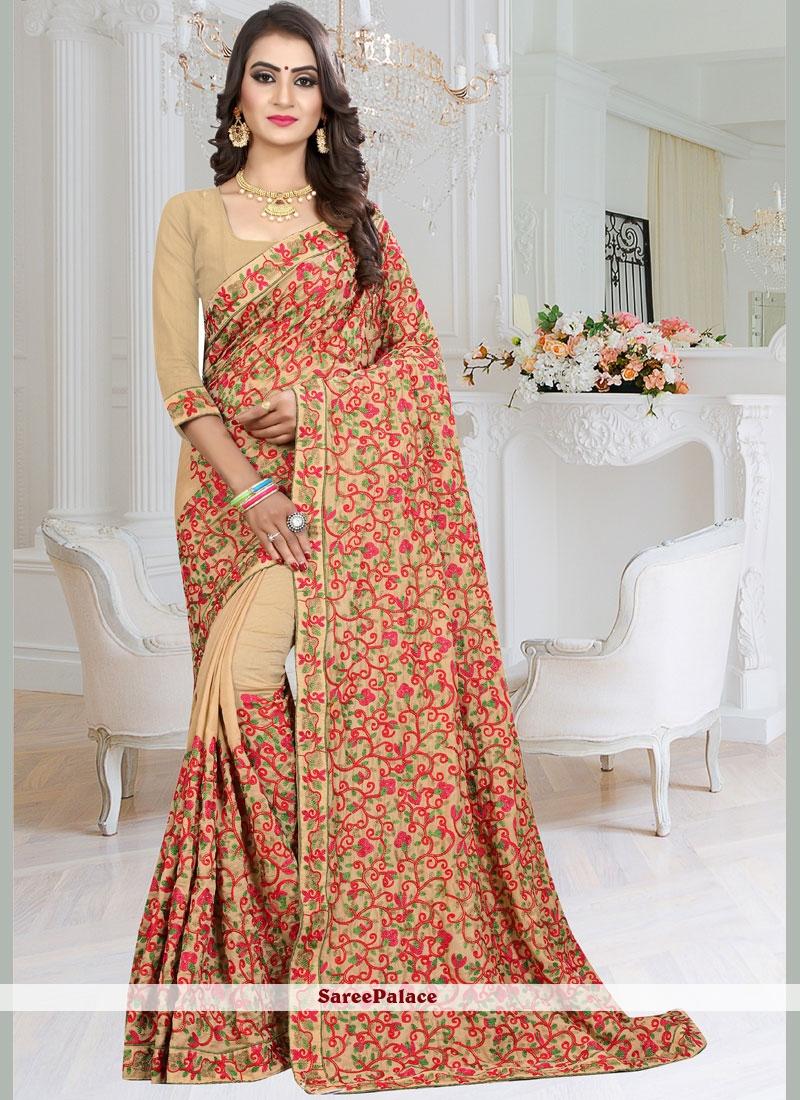 Fancy Fabric Patch Border Classic Designer Saree in Beige
