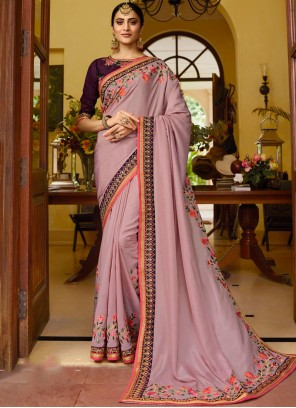 Fancy Fabric Patch Border Classic Saree in Pink